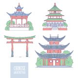 Chinese architectural landmarks. Oriental architecture line art gate pagoda and gazebo. Vector set different traditional. National buildings of China