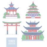 Chinese architecturale oriëntatiepunten De oosterse van de de kunstpoort van de architectuurlijn pagode en gazebo Vectorreeks ver stock illustratie