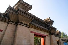 The Chinese architecture. Input(Entrance) in a temple of emperor. China Stock Image