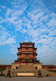 Chinese architecture. A Chinese building stands in the blue sky Royalty Free Stock Image