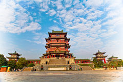 Chinese architecture. A Chinese building stands in the blue sky Stock Image