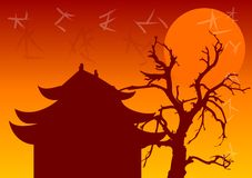Chinese Architecture. Chinese temple and old tree Stock Photos