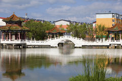 Chinese architecture on lake Royalty Free Stock Images
