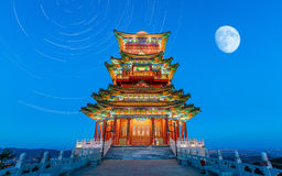 Chinese architecture and the moon Stock Images