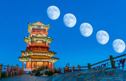 Chinesearchitectureandthemoon Stock Images