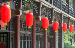 Chinese architecture and red lanterns Stock Images