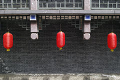 Chinese architecture and red lanterns Stock Photography