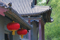 Chinese architecture and red lanterns Stock Image