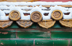 Chinese architecture after snow Stock Photos