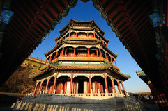 Chinese Architecture Summer Palace Tower foxiangge. The Summer Palace is  the most famous  emperor garden in china.As the symbolic structure, the Tower of Royalty Free Stock Photos