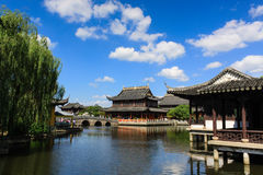 Chinese architecture on water Royalty Free Stock Image