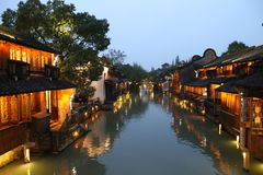 Chinese Architecture, Waterway, Reflection, Town Royalty Free Stock Photos