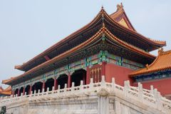 Chinese Architectuur in de Verboden Stad, Peking China Royalty-vrije Stock Foto