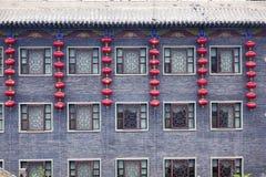 Chinese architectuur en rode lantaarns Stock Afbeeldingen