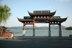 Chinese archway. By West lake Stock Photo