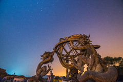 Chinese Armillary Sphere and Night Sky Royalty Free Stock Images