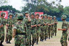 Chinese army in Hong Kong garrison. The Peoples Liberation Army Hong Kong Garrison is a garrison of the Peoples Liberation Army (PLA) of the Peoples Republic of Royalty Free Stock Image