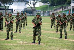 Chinese army in Hong Kong garrison. The Peoples Liberation Army Hong Kong Garrison is a garrison of the Peoples Liberation Army (PLA) of the Peoples Republic of Stock Photography