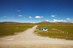 Chinese army outpost in Tibet Plateau Stock Images