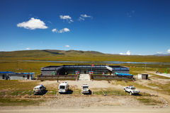 Chinese army outpost in Tibet Plateau Stock Image