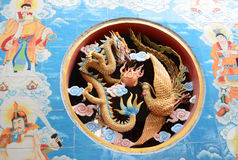Chinese art. Chinese dragon and phoenix art wall background Stock Images
