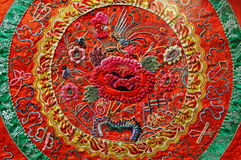 Chinese art: embroidery. Chinese art: silk ancient  embroidery with typical chinese motif Stock Photo
