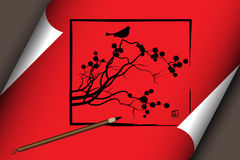 Chinese art on red scroll with nature Stock Photo