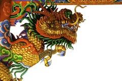 Chinese art of sculpture of golden dragon stock photos