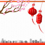 Chinese art style with red lantern and yellow border abstract ba. Ckground vector illustration eps 10 stock illustration