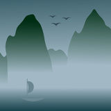 Chinese art styled landscape with foggy mountains. Oriental styled illustration with mountains in the fog, a lake with a boat on it, three birds in the sky Stock Image