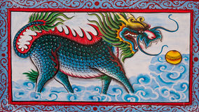 Chinese Art The Colorful Of Old Painting Dragon On Wall Stock Photo