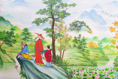 Chinese art on the walls. Of the Chinese  temple. Loei Province, Thailand Royalty Free Stock Image