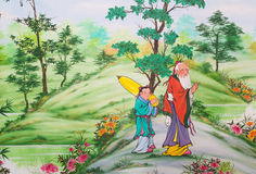 Chinese art on the walls. Of the Chinese  temple. Loei Province, Thailand Stock Photo