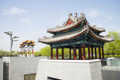 Chinese Asia, Beijing, Asia China, Beijing, Olympic Park, sinking, garden,Arches and pavilions Royalty Free Stock Photography