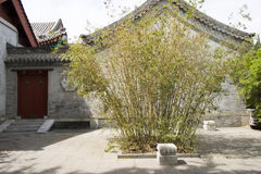 Chinese Asia, Beijing, Beihai Park, the ancient building, courtyard, gatehouse, bamboo Royalty Free Stock Photos