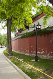 Chinese Asia, Beijing, Beihai Park, the ancient buildings, street lamp, the old tree Royalty Free Stock Photo