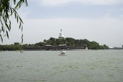 Chinese Asia, Beijing, Beihai Park, Qionghua Island, water cruise, scenic royalty free stock photography