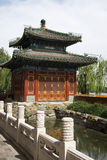 Chinese Asia, Beijing, Beihai Park, the small West, Square Pavilion Royalty Free Stock Photo