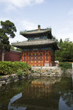 Chinese Asia, Beijing, Beihai Park, the small West, Square Pavilion Stock Photos