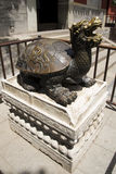 Chinese Asia, Beijing, Beihai Park, Yongan temple, copper turtle Stock Photos