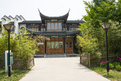 Chinese Asia, Beijing, north of Forest Park palace, garden building, floor, bamboo fence, street lamp Stock Images