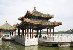 Chinese Asia, Beijing, the Royal Garden, Beihai Park, the ancient buildings, the White Pagoda Royalty Free Stock Photos