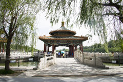 Chinese Asia, Beijing, the Royal Garden, Beihai Park, the ancient buildings, the White Pagoda Royalty Free Stock Photography