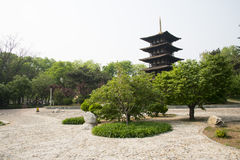 Chinese Asia, Beijing, the World Park,The gardening landscape,Miniature landscape, In Japan, wu chong tower Stock Photos