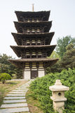 Chinese Asia, Beijing, the World Park,The gardening landscape,Miniature landscape, In Japan, wu chong tower Stock Images