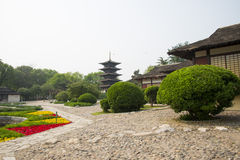 Chinese Asia, Beijing, the World Park,The gardening landscape,Miniature landscape, In Japan, wu chong tower Stock Image