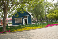 Chinese Asia, Beijing, the World Park,The gardening landscape,The hut, the wooden fence Royalty Free Stock Photography