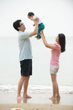 Chinese asian Family walking On the Beach Royalty Free Stock Photography