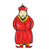 Chinese Asian Man Wearing Robe Cartoon. Illustration of a chinese asian man wearing robe and hat facing front on isolated background Royalty Free Stock Image