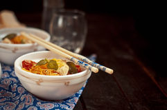 Chinese asian noodles stir fry with vegetables Royalty Free Stock Image